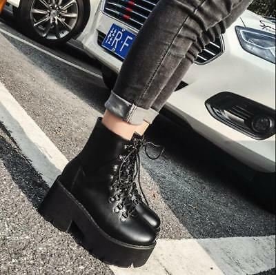 58ea35ef90669 Womens Fashion Punk Lace Up Gothic Chunky Block Mid Heels Platform Ankle  Boots