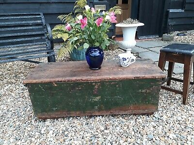 Antique Vintage Mill Chest Original Paint Coffee Table Bed End Chest