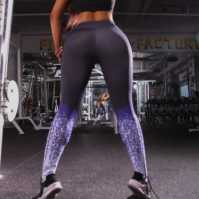 Womens YOGA Workout Gym Print Sports Pants Leggings Fitness Stretch Trousers US