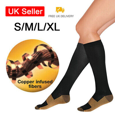 2pcs Unisex Copper Infused Anti-Fatigue Compression Socks Varicose Vein Foot UK