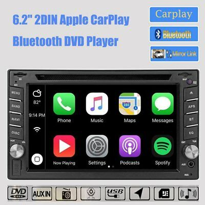 "Bluetooth Apple Carplay 6.2"" 2 DIN Autoradio DVD CD Player USB SD + Telecamera"