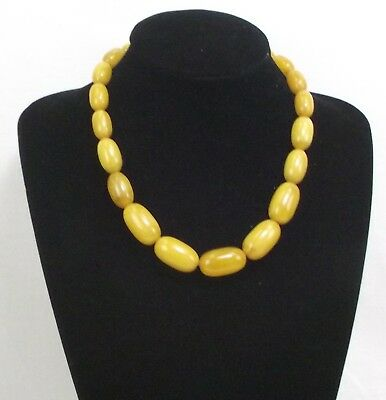VTG Art Deco Butterscotch Amber BAKELITE Beaded Necklace 63 gr Simichrome Tested