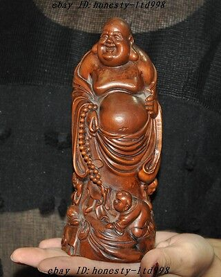 "7"" old China Boxwood wood hand-carved 3 Boy Wealth Happy Maitreya Buddha statue"