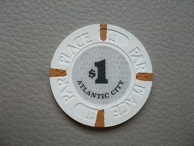 Ballys Park Place Ac Atlantic City Casino chip $1   Full crosshatch Blast White