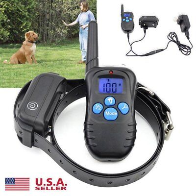 Waterproof Rechargeable LCD Electric Remote Dog Training Shock Collar 100LVL US