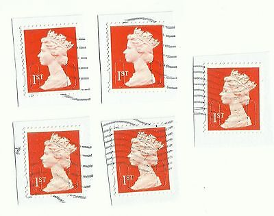 UK 1st Class Red security tabbed forgery stamps x 5, used on paper (Example 6)