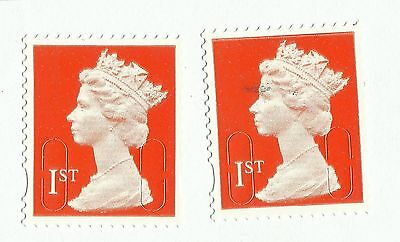 UK 1st Class Red security tabbed forgery stamps x 2, used on paper (Example 4)