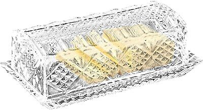 Danish Crystal Covered Butter Dish - Keeps Butter Soft - Decorative Antique Look