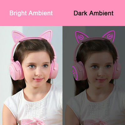 Cat Ear Headset Wireless Bluetooth Foldable LED AUX Headphone For iPhone Sumsung