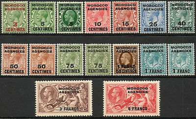 Morocco Agencies 1917 KGV set of mint stamps value to 6F Lightly Hinged