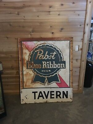Large PABST Blue Ribbon Beer PBR Advertising Vintage Metal Sign