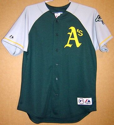 sports shoes a4aef 893f7 OAKLAND ATHLETICS GREEN No #s BUTTON-DOWN A'S Size L Majestic JERSEY