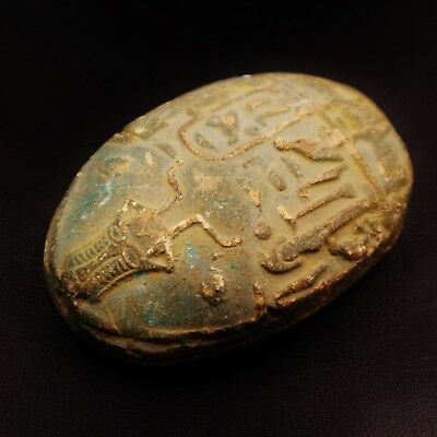Rare Ancient Egyptian Stone Scarab Beetle Amulet Figurine, New Kingdom 1504-1450
