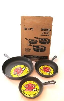 3x NEW 1972 VINTAGE BS&R Century Cookware # 3, 5, 8 Skillet-USA-NOS-Never Used