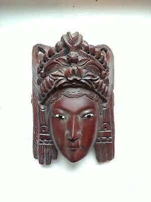 Vintage Asian Hand Carved Hardwood Mask Pretty Chinese Empress with Headdress