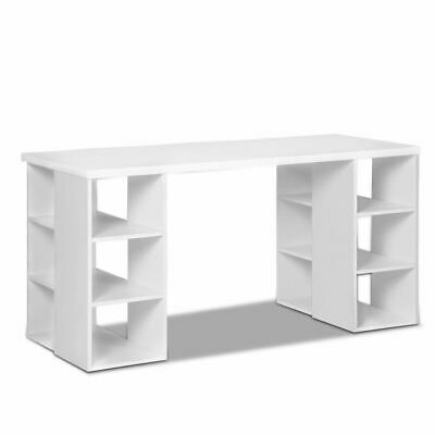 Artiss 3 Level Computer Desk with Storage & Bookshelf White Melamine 6 Shelves