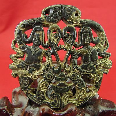 Chinese hand-carved Two dancers jade pendants B726