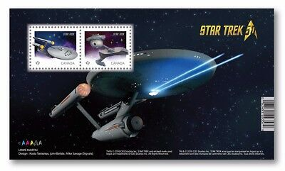 STAR TREK 50th = U.S.S. Enterprise, Klingon D7 =  Souvenir Sheet MNH Canada 2016