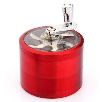 Red 4-Layers Herb Grinder Spice Tobacco/Weed Smoke Metal Crusher Leaf Design O12