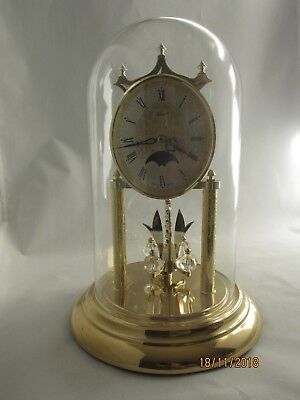 "Hermle Moon Phase Anniversary Clock Glass Dome W Germany 11"" Crystal Pendulum"