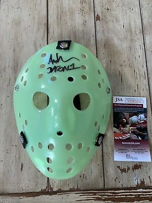 Ari Lehman Friday The 13th Autographed/Signed Jason Voorhees Hockey Mask Green