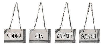 Silver Plated Decanter Labels w/ Adjustable Chain for Whiskey Scotch Gin & Vodka
