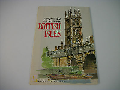 Vintage 1974 National Geographic Fold Up  A Traveler's Map of the British Isles
