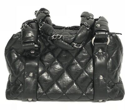8d7cd3813445 Chanel Black Quilted Distressed Leather Lady Braid Small Tote Handbag