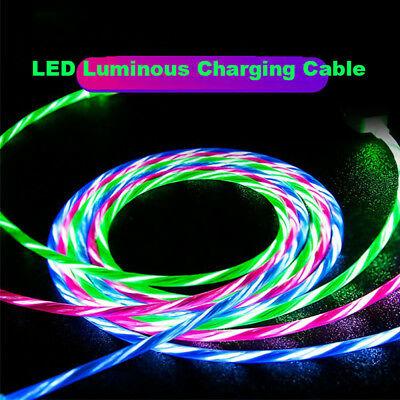 USB LED Light Type-C Data Sync Charging Cable Cord Charger Glowing Adapters Acc