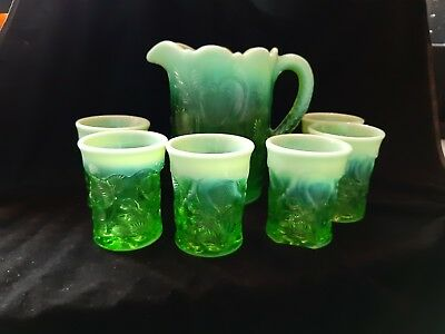 Green Opalescent Inverted Strawberry Pitcher & Tumblers Water Set Lemonade