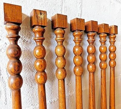 7 - 1800s STAIR BALUSTERS Victorian Style QUARTERSAWN OAK Turned Spindles ORNATE