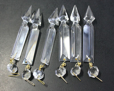 6 Lot 4'' Chandelier Lamp Part Crystal Spear Glass Luster Prism Hanging Replace