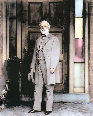 "GENERAL ROBERT E LEE CIVIL WAR 1865 CONFEDERATE 8x10"" HAND COLOR TINTED PHOTO"