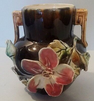 Small vase in slip period 1900 Antique French majolica Vase