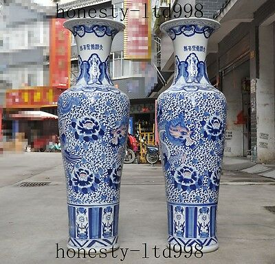 Huge China Blue&white porcelain fengshui dragon flowers Zun Bottle Pot Vase pair