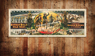 "Buffalo Bill's Wild West Show Vintage Style Poster Banner 66""x24"""