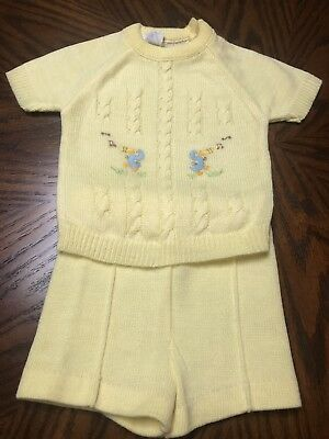 VINTAGE 1960's BABY BOY 2 PIECE CABLE KNIT SWEATER SET SIZE 6-9 MONTHS