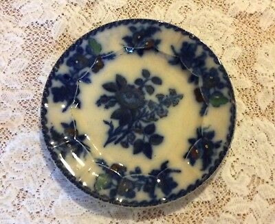 Antique 1850's Flow Blue Moss Rose Dinner Plate Cobalt & Copper Floral Pattern