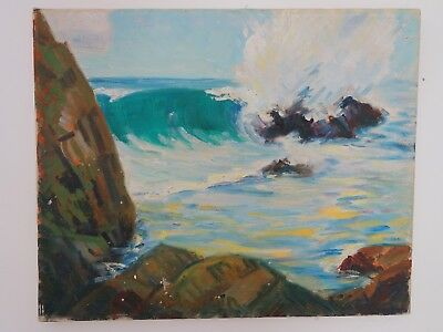 William Arthur Paxton 1873- 1965  Stunning  Oil Californian Modernist Seascape