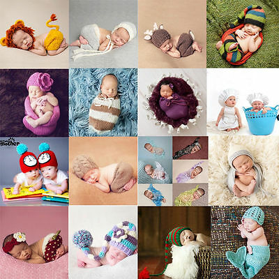 Newborn Baby Girls Boys Crochet Knit Costume Photo Photography Prop Outfit Lot