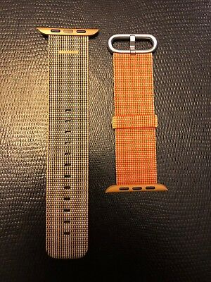 Apple Watch Genuine Woven Nylon Band NEW Authentic Gold Red 42mm