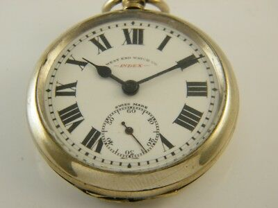 VINTAGE WEST END WATCH CO INDEX SUB SECOND WINDING SWISS MEN'S POCKET WATCH -a11