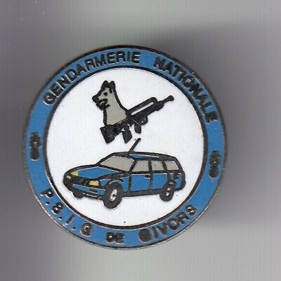Rare Pins Pin's .. Gendarmerie Auto Peugeot Chien Cynophilie Psig Givors 69 ~Dy