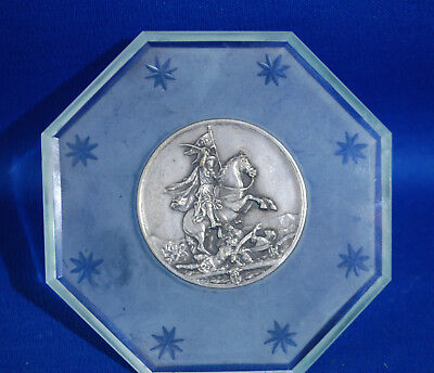 Antique glass and silver plated plaque featuring a crusader templar knight scene