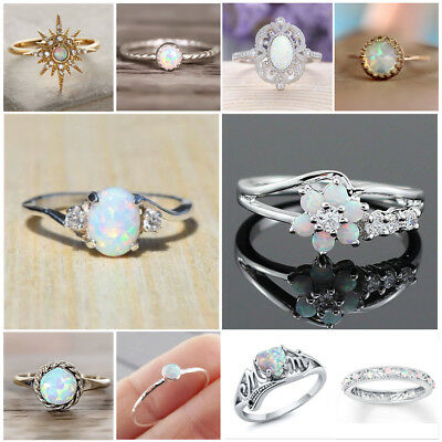 925 Silver Ring Woman Man White Fire Opal Moon Stone Wedding Engagement Size6-10