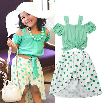 US Kids Baby Girl Short Sleeve Crop Tops Dress + Leggings Pants Clothes Outfit