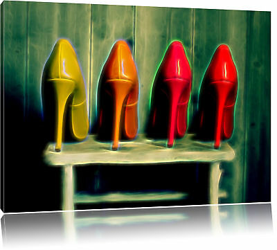 High Heels on Stool Canvas Picture Wall Deco Art Print