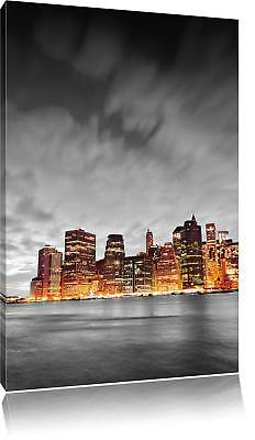 Skyline of New York at Night Black/White Canvas Picture Wall Deco Art Print