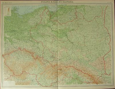 1922 Large Antique Map ~ Poland & Czecho-Slovakia ~ Warszawa Bukowina
