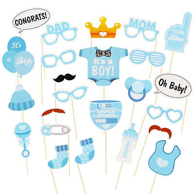 25PCS Baby Shower Photo Booth Props Little Boy Mini Mister New Born Party Deco